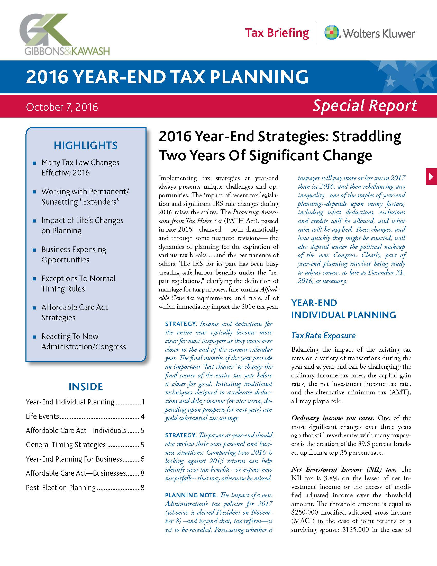 2016 Year End Tax Planning